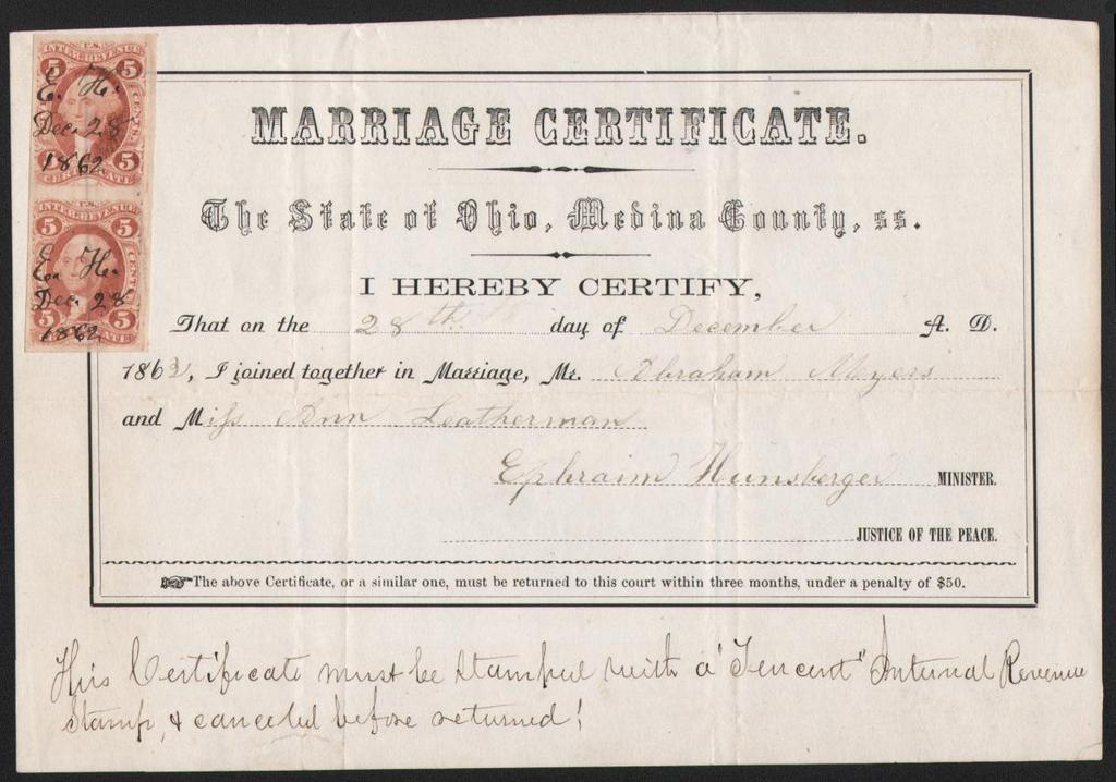 Hitched Revenue Stamped Marriage Certificates Agreements And Bonds