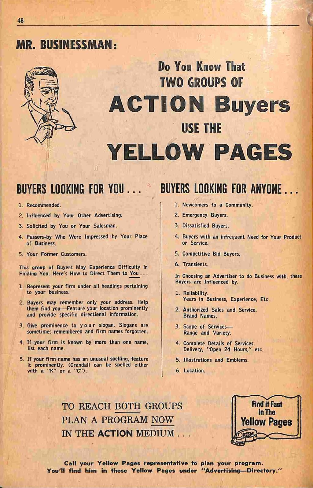 ACTION Buyers YELLOW PAGES  Yellow Pages TWO GROUPS OF MR