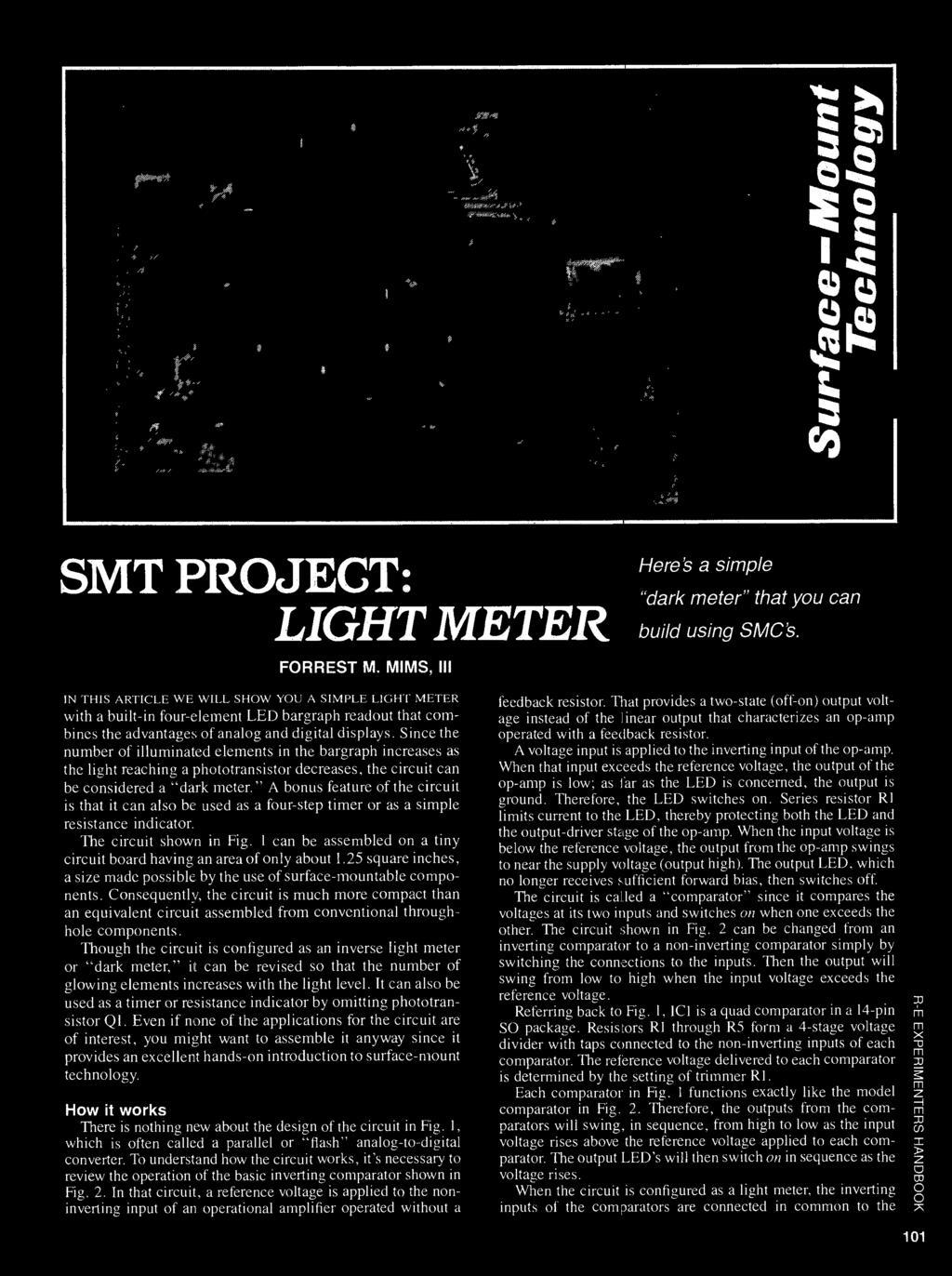 Surface Mount Technology Pdf Lm741 2n3904 2n3906 The Circuit Built Around An Op Amp Since Number Of Illuminated Elements In Bargraph Increases As Light Reaching A Phototransistor