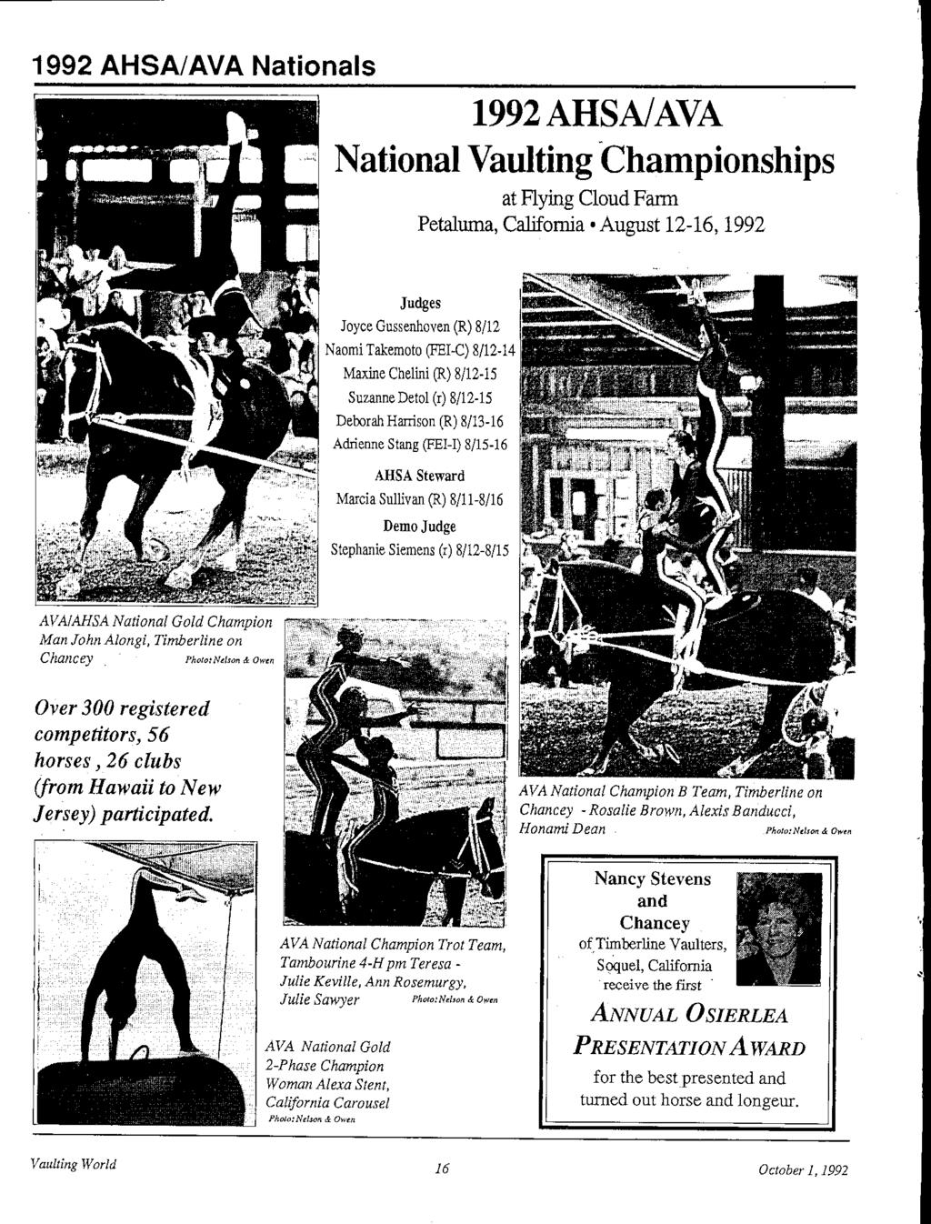 AULTING WORLD OFFICIAL PUBLICATION OF THE AMERICAN VAULTING