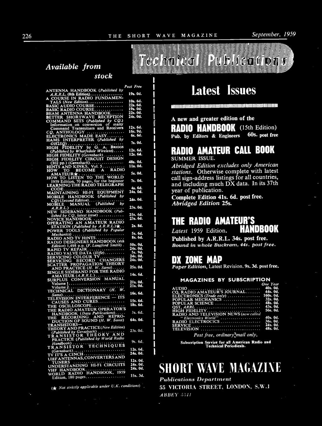 7 1 Short Wave Vol Xvii September Number For The Radio Amateur Builder Audio Amplifier6 Simple Circuits Information On Conversion Of Many Command Transmitters And Receivers 12s 6d Cq