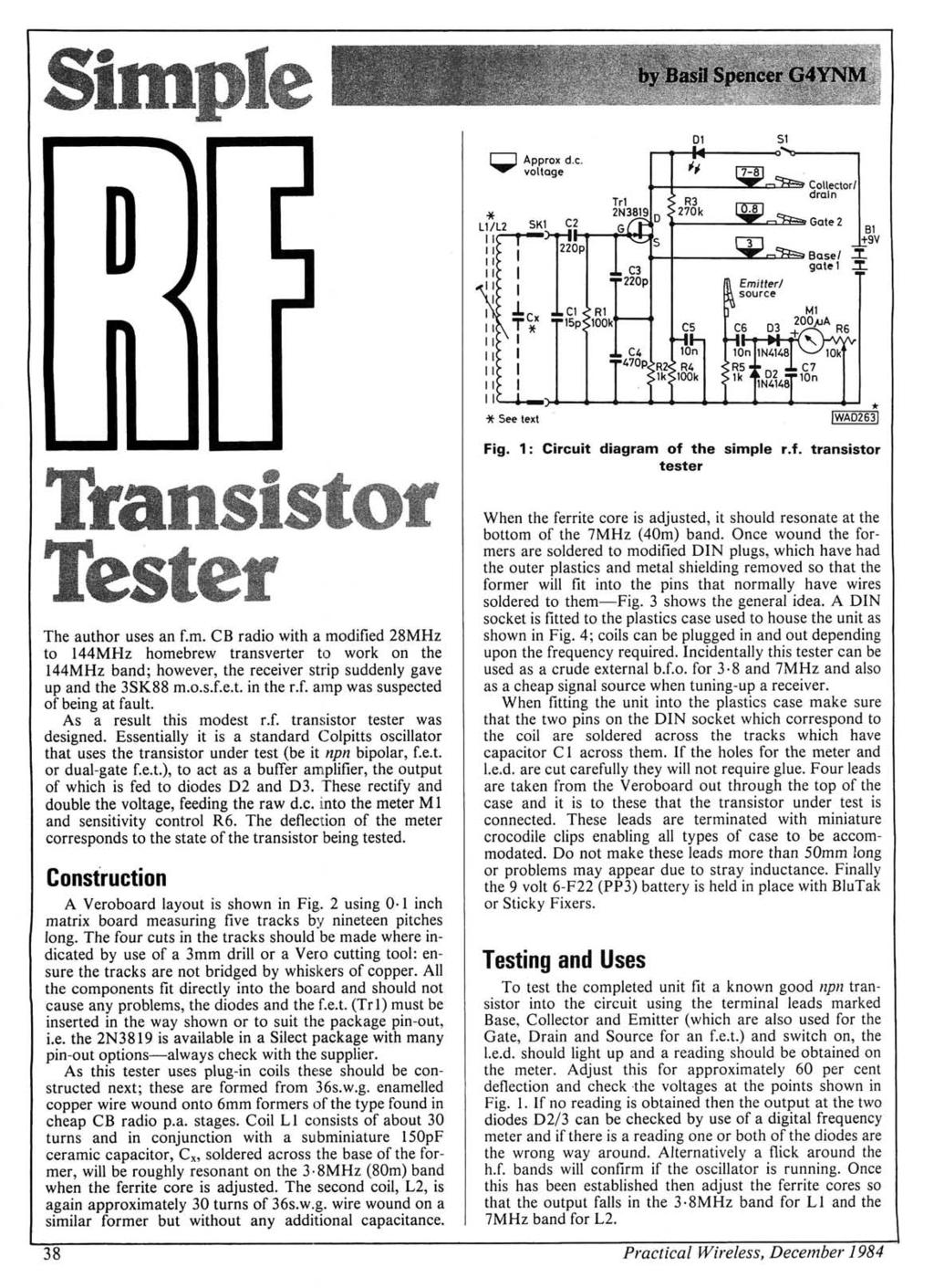 A New Approach To Hf Antennae Design Typical Spec Tor No Of Fet Preamp With Tone Control By 2n3819 Americanradiohistorycom Sitnple O R Approx De Voltage I 1