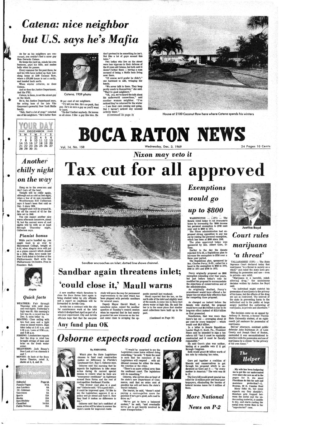 BOCA RATON NEWS Vol  14, No  158 Wednesday, Dec  3, Pages 10 Cents