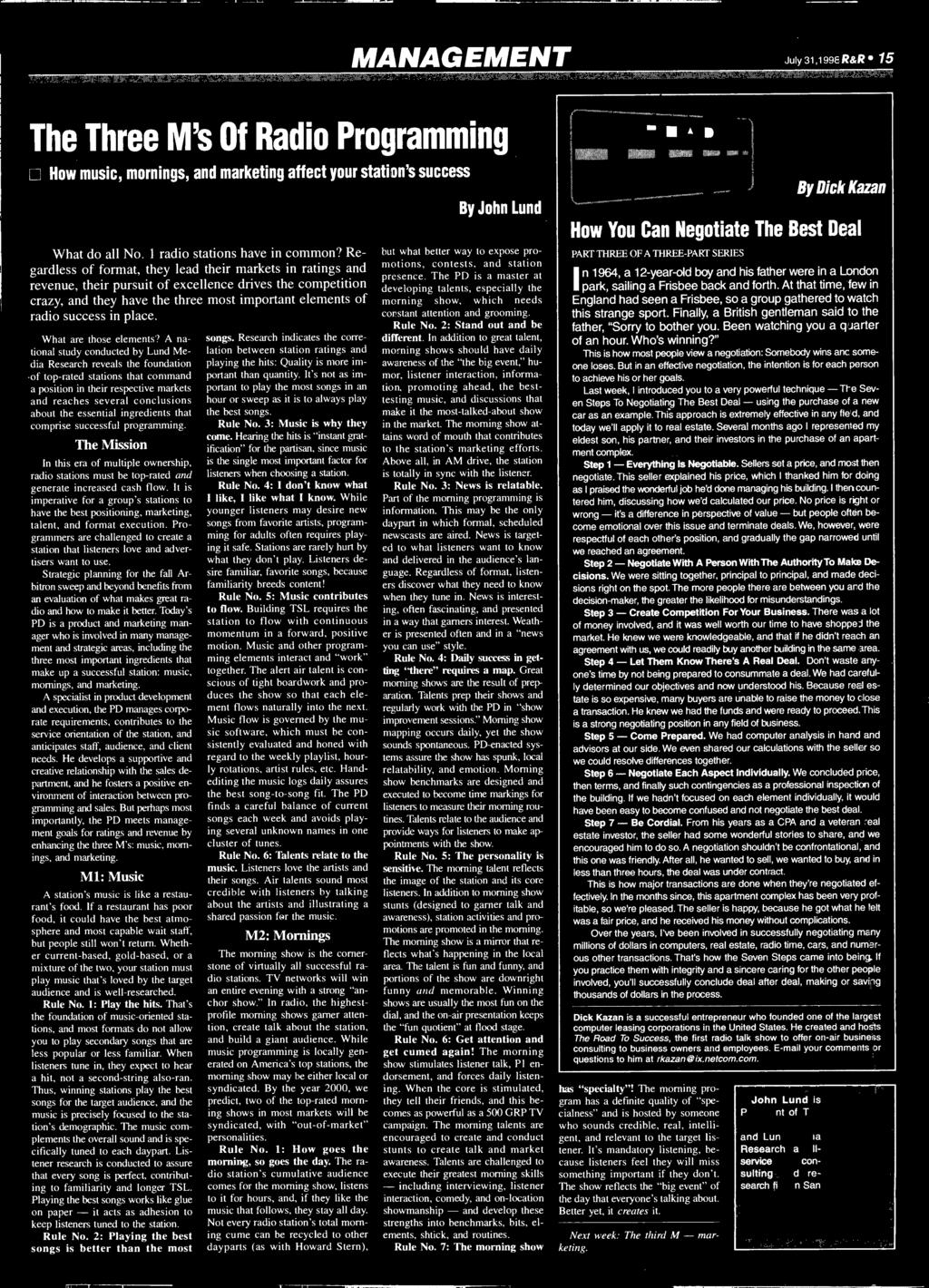 free THE INDUSTRY'S NEWSPAPER JULY 31, 1998 Remembering Doug