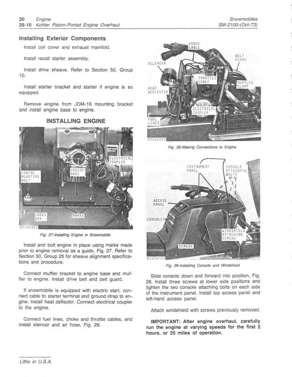 JOHN DEERE SNOWMOBILES (Serial No  2,551- ) Service Manual