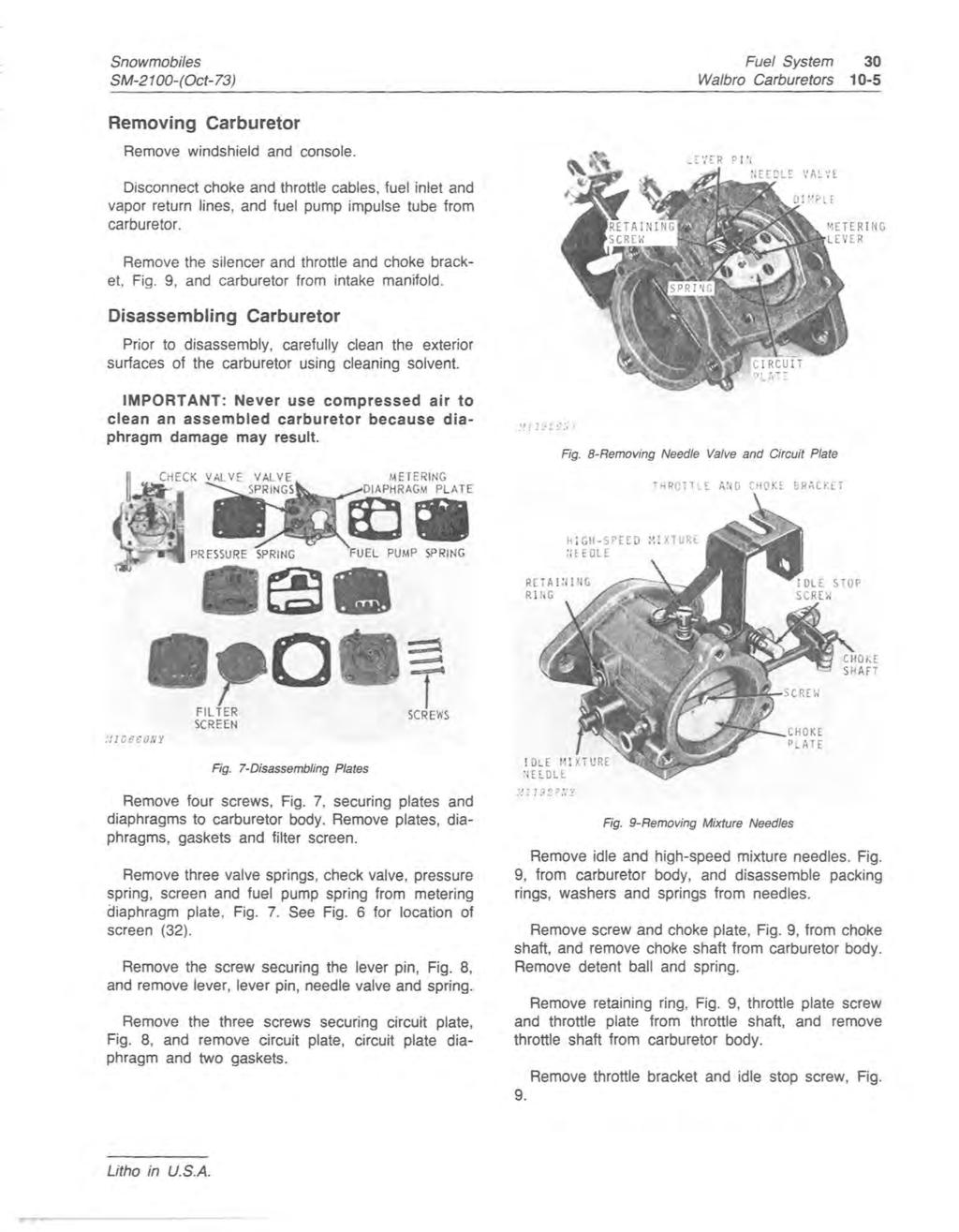JOHN DEERE SNOWMOBILES (Serial No  2,551- ) Service Manual SM-2100