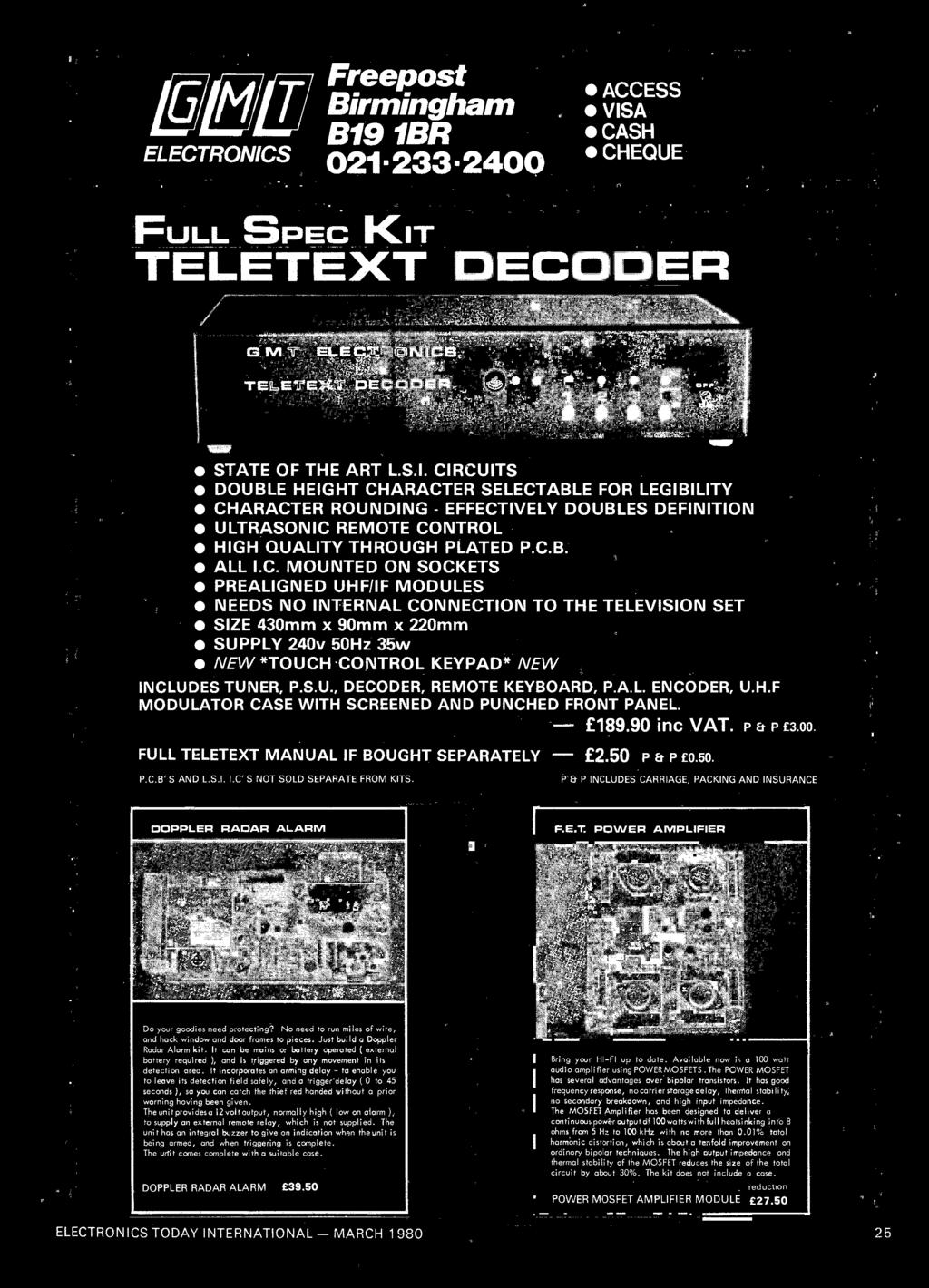 And Pitch Sweep Control A Noise Generator An Detector New Lowcostcoppercladsrbpcircuitboard Cb All Ic Mounted On Sockets Prealigned Uhf If Modules Needs No Internal Connection To