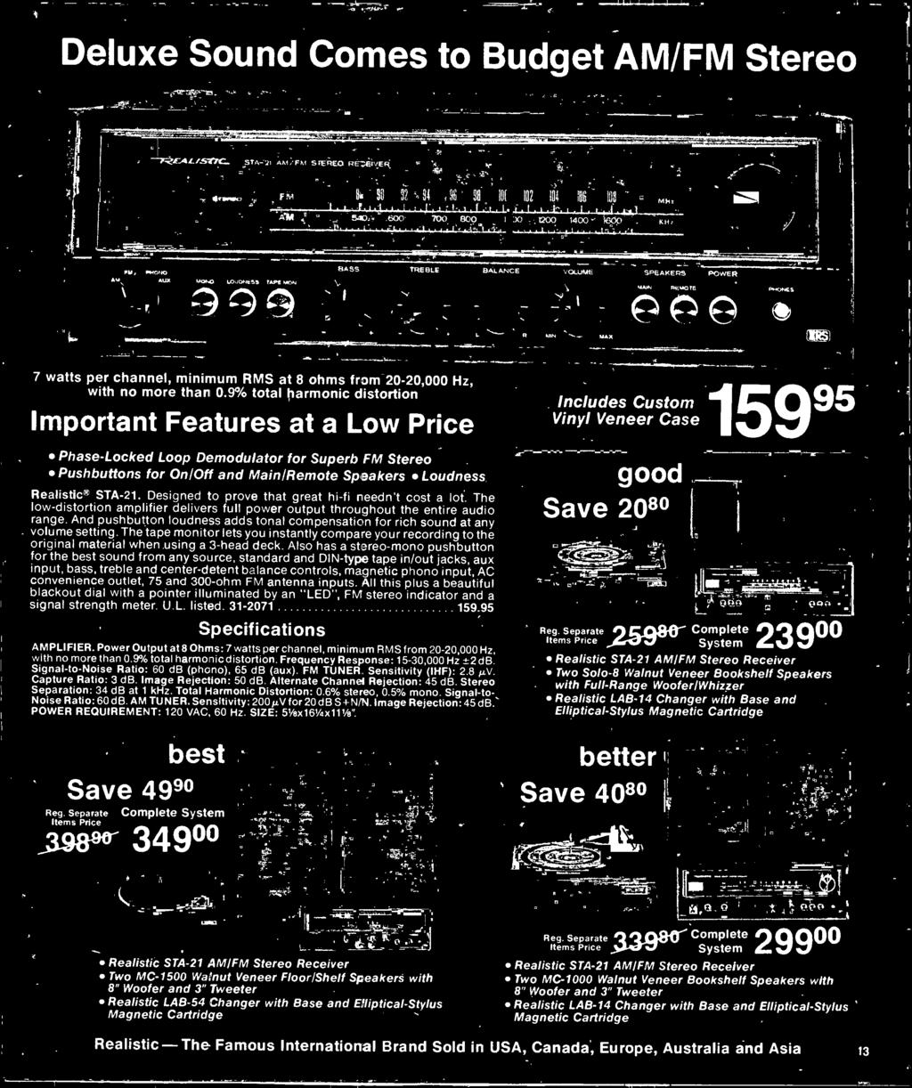 1977 Electronics Catalog Pdf Lm1800 Fm Stereo Demodulator Circuit Diagram And Pushbutton Loudness Adds Tonal Compensation For Rich Sound At Any Volume Setting The Tape