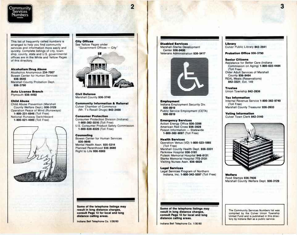 Area Code 219 \ Indiana Bell April 1980 JX  Bell System Yellow Pages