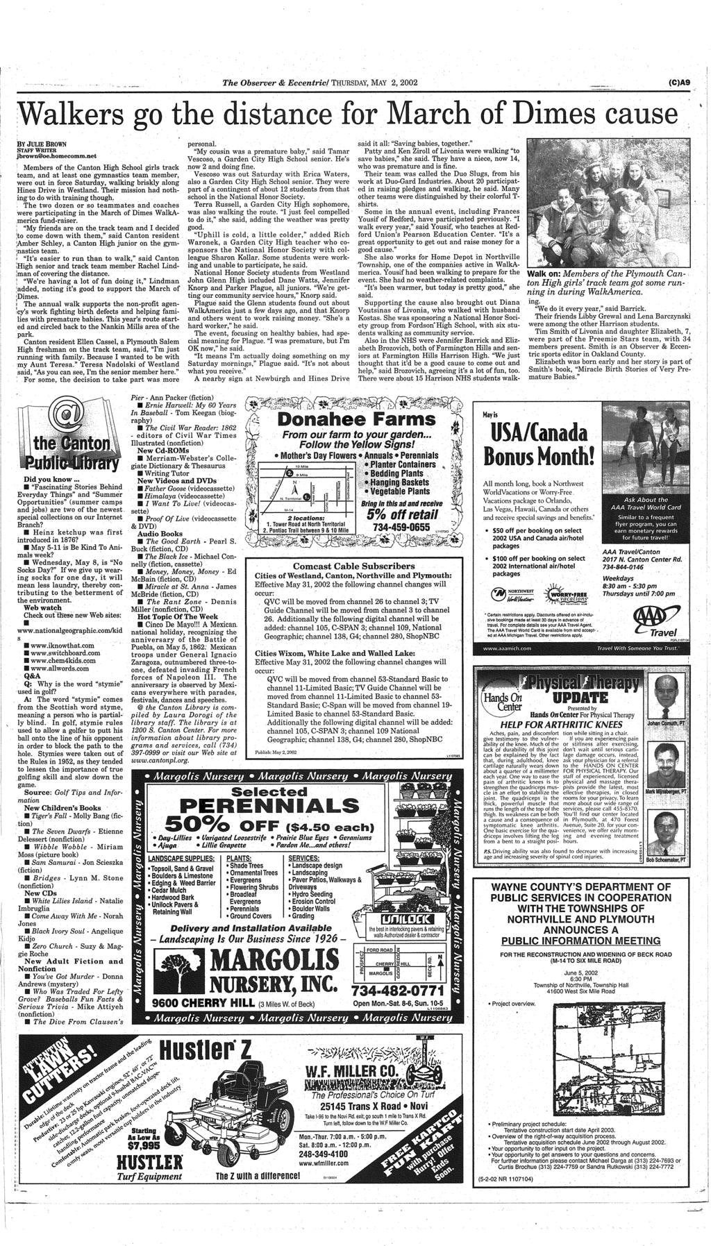 Your Hometown Newspaper Serving Canton For 27 Years Www Wiring Harness Partial Dash Engine Cmpt The Observer Eccentric Thursday May 2 2002 Ca9 Cause