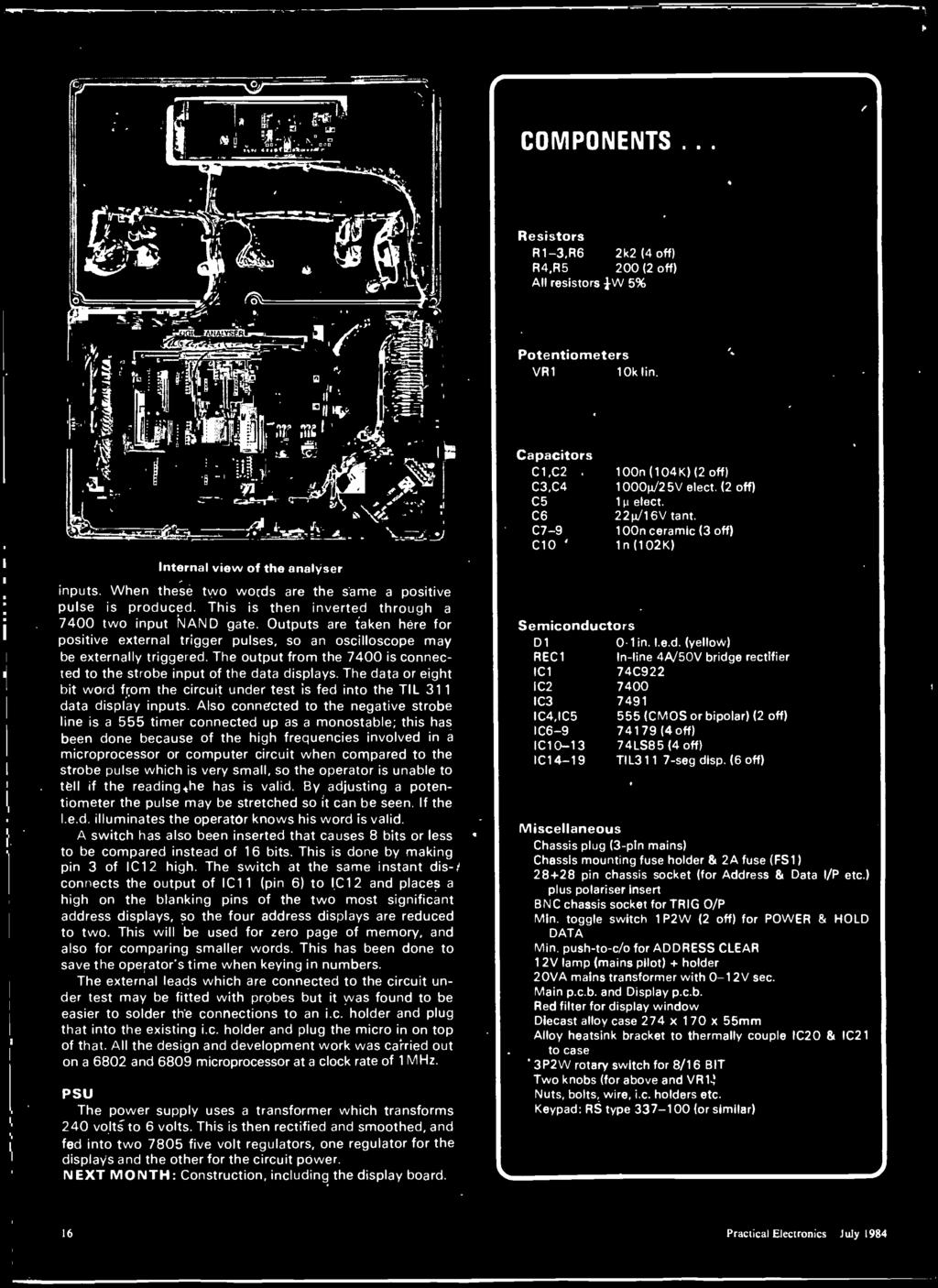 Electron Cs Isu Ige Practi Cal Sli 90p July 1984 Logic Analvbe Switchable Monostable 555 Timer Circuit At Rotary Switch 100ms Also Connected To The Negative Strobe Line Is A Up As