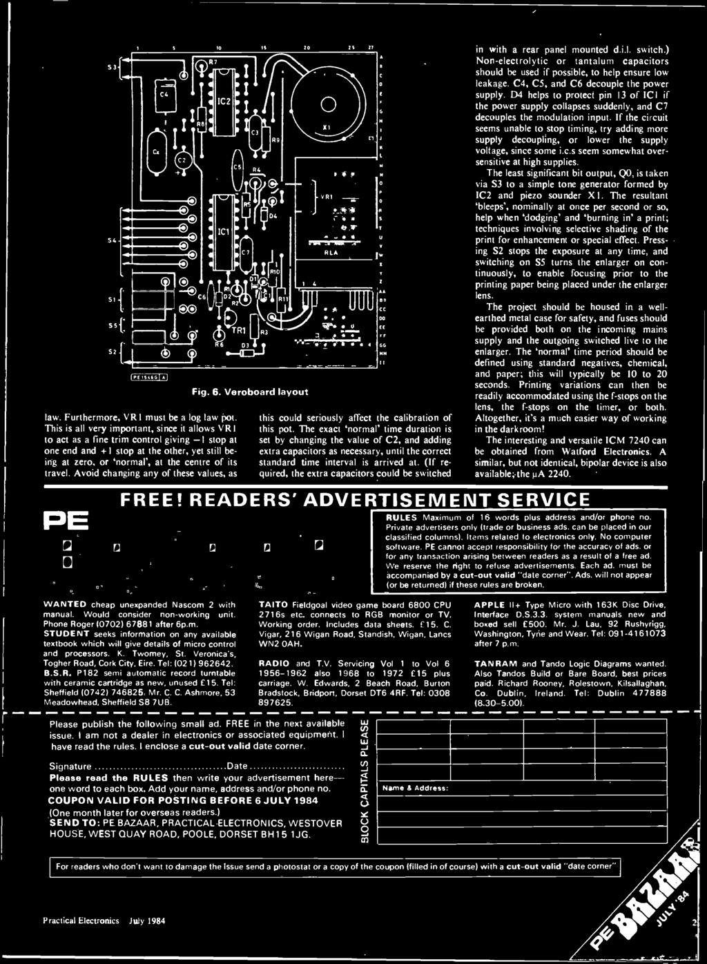 Electron Cs Isu Ige Practi Cal Sli 90p July 1984 Logic Analvbe Faze 3 Fuse Box Handle The Extra Capacitors Could He Switched Gc Nn In With A Rear Panel Mounted Dil