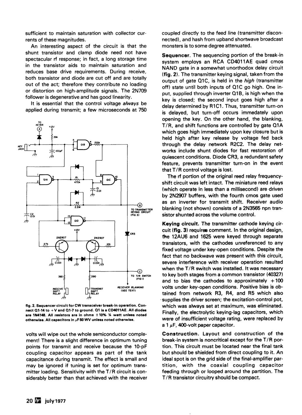 Ham Radjo Magazine July Cw Transceiver Transverter Spectrum Analyzer 570 571 Compandor Ic Compressor Circuit Sufficient To Maintain Saturation With Collector Currents Of These Magnitudes
