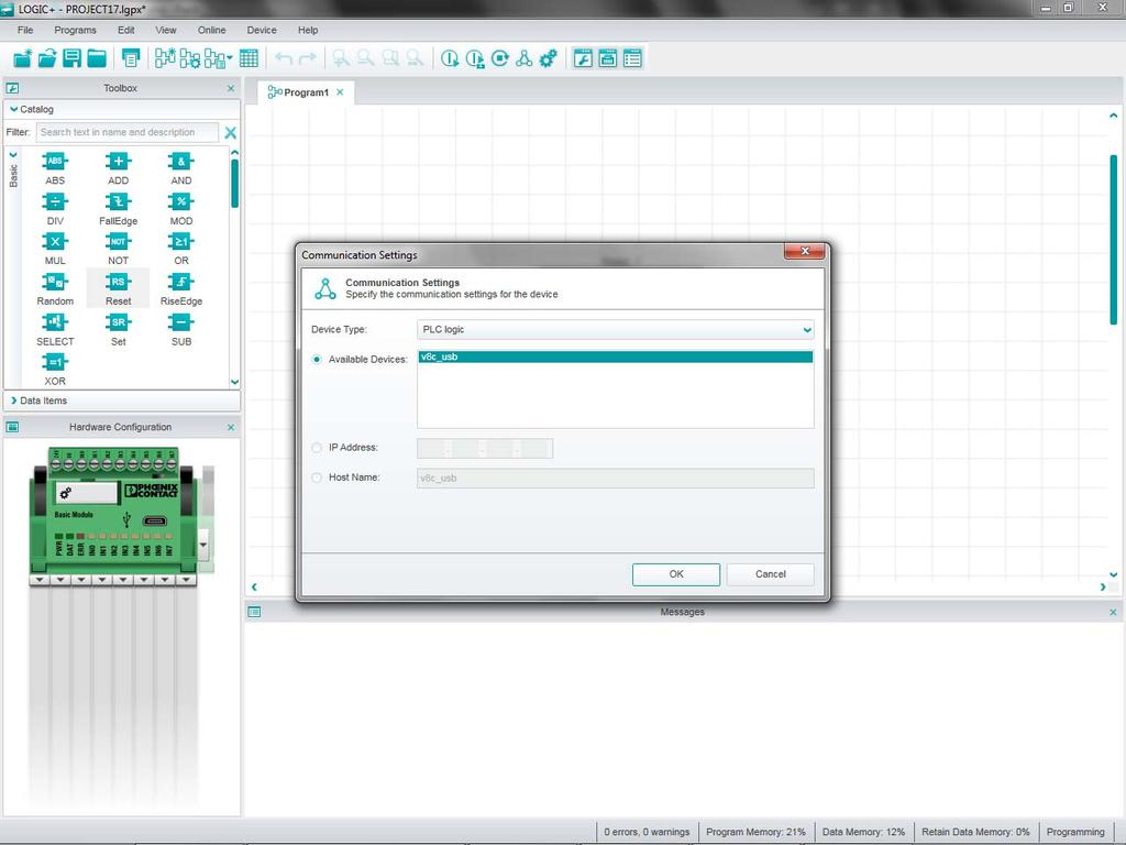 Installing and operating the PLC logic programmable logic relay