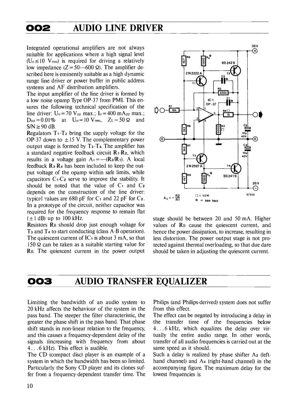 Circuits Elektor Electronics Pdf Amplifier Transformer Wiring Moreover Electronic Dog Repellent Circuit 2 Audio Line Driver Integrated Operational Amplifiers Are Not Always Suitable For Applications Where A High