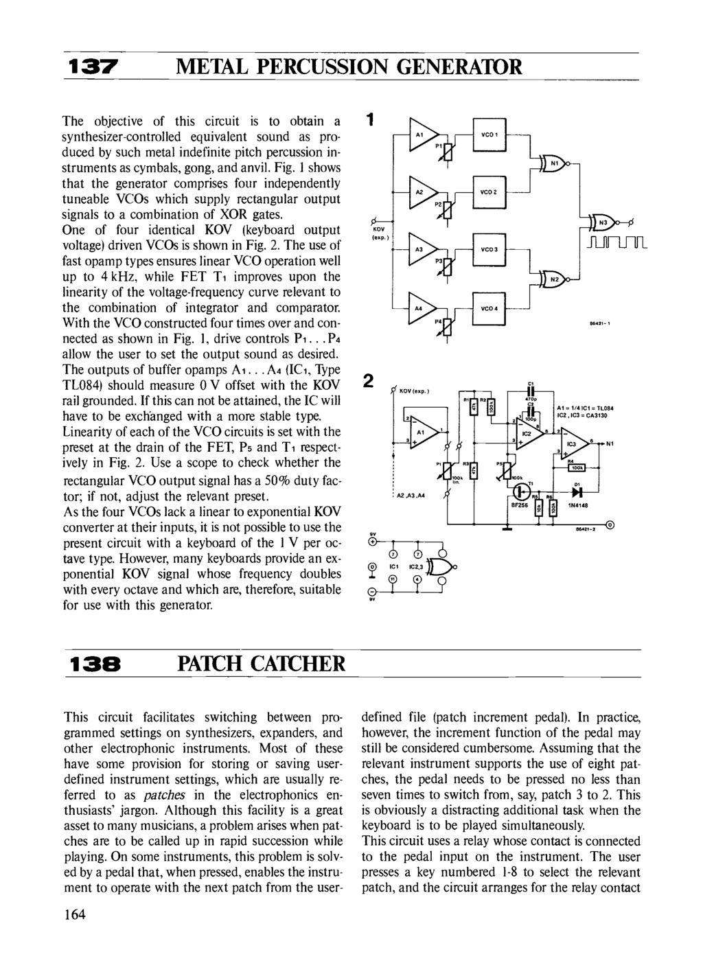 Circuits Elektor Electronics Pdf Threemode Tone Generator Circuit 137 Metal Percussion The Objective Of This Is To Obtain A Synthesizer Controlled