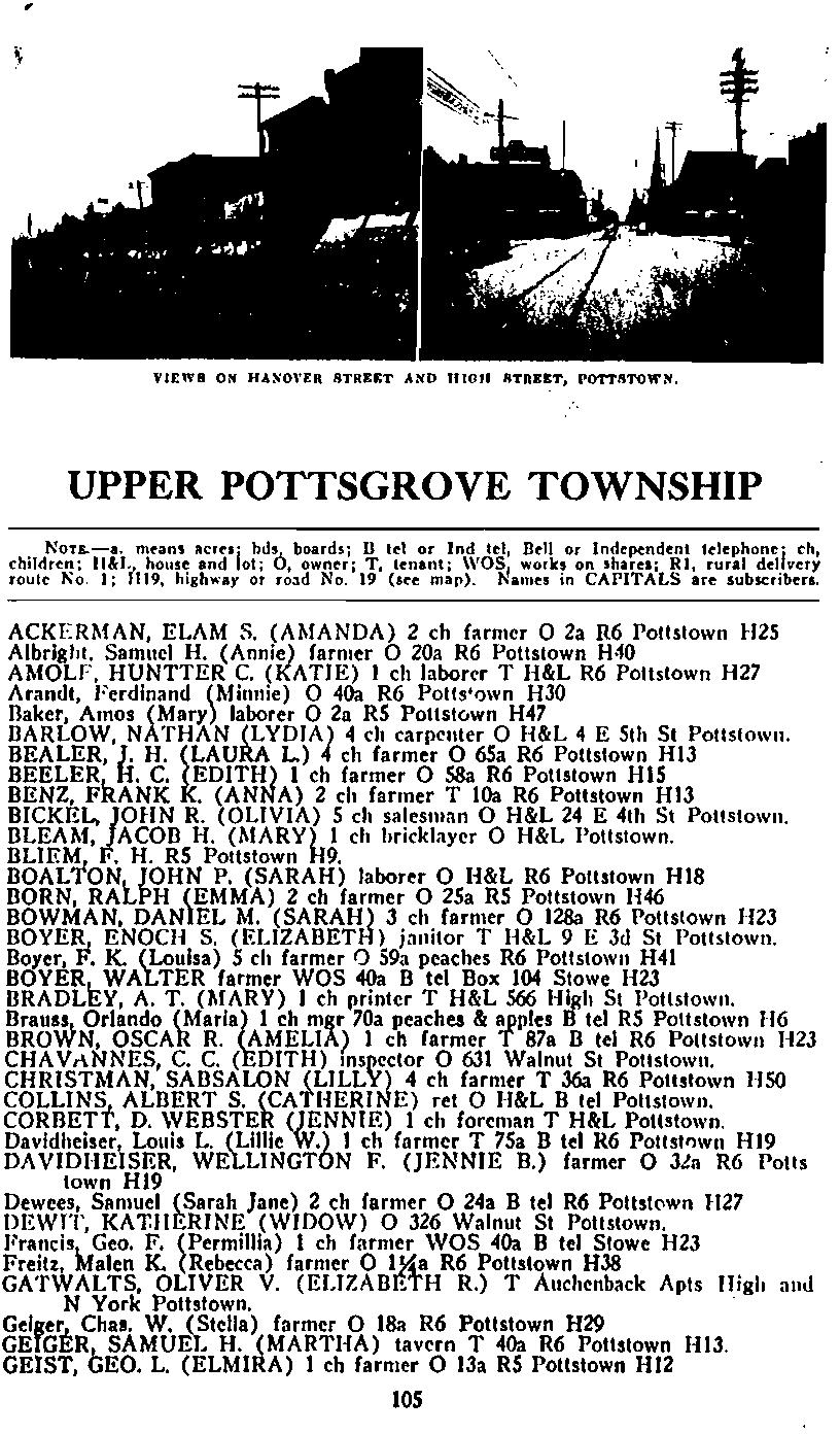 VIEWS ON HASO\'ER STREET AND nlou IlTREET, POTTIITOWN, UPPER POTTSGROVE