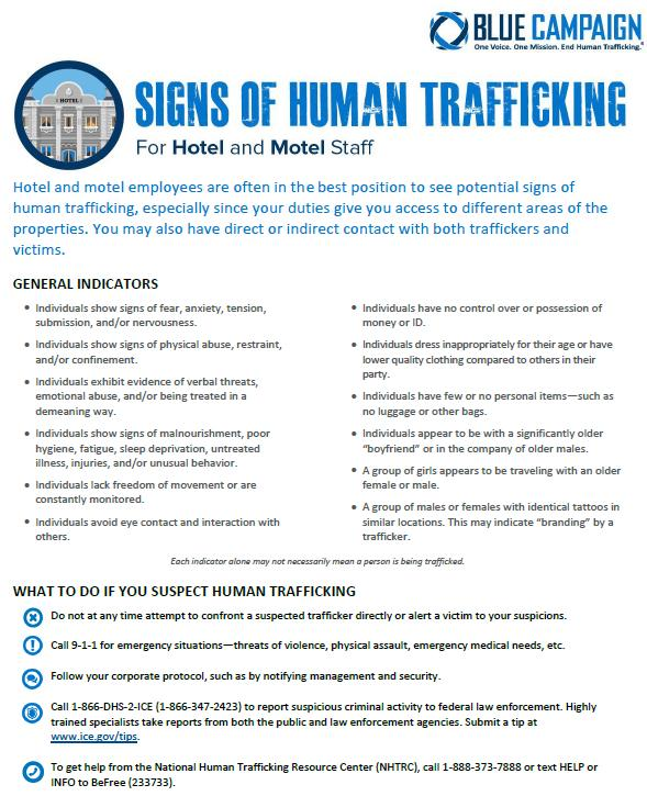 Sex Trafficking: The Hospitality Industry s Role and Responsibility