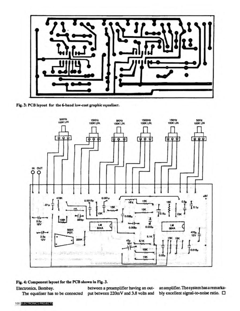 A Compilation Of 102 And Circuit Ideas For Construction Projects 12v To 220v Inverter 180w By 2n3055 Electronic Circuits Schematics Fig 3 Pcb Layout The 6 Band Low Cost Graphic Equaliser