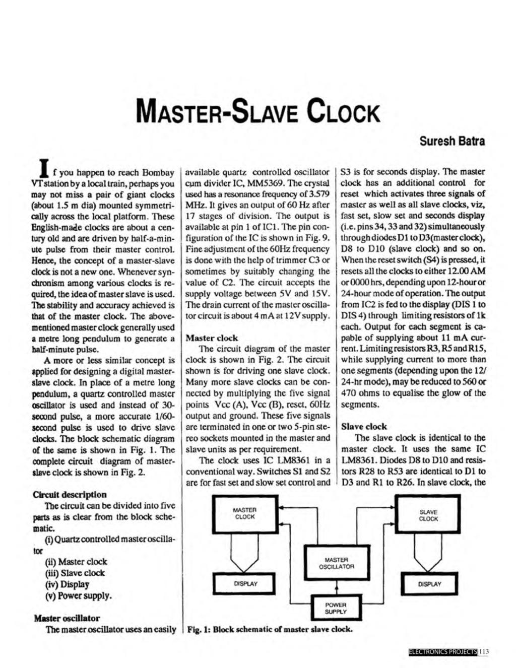 A Compilation Of 102 And Circuit Ideas For Construction Projects Balance Display By Bc147 Master Slave Clock Suresh Batra I F You Happen To Reach Bombay Vt Station