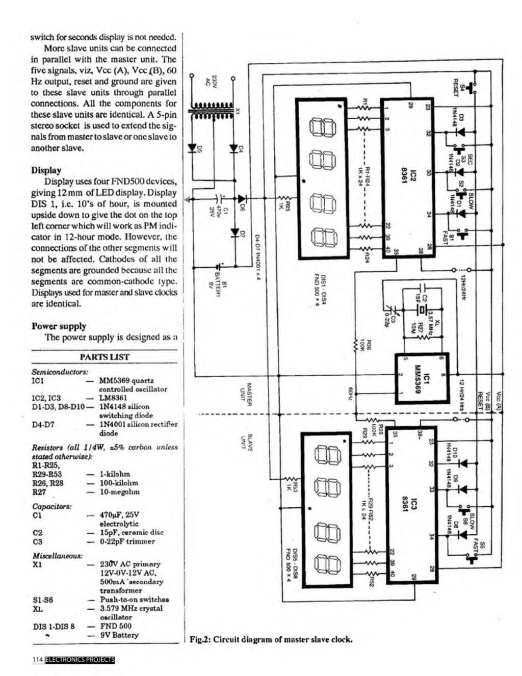 A Compilation Of 102 And Circuit Ideas For Construction Projects Lm324 1khz Bandpass Filter Electronic Circuits Schematics Diagram Switch Seconds Display Is Not Needed More Slave Units Can Be Connected In Parallel