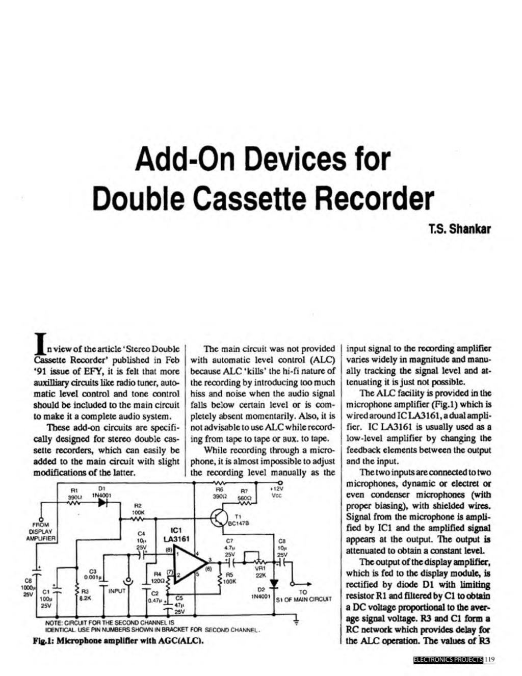 A Compilation Of 102 And Circuit Ideas For Construction Projects Stereo Tape Head Preamplifier Using La3161 Add On Devices Double Cassette Recorder Is
