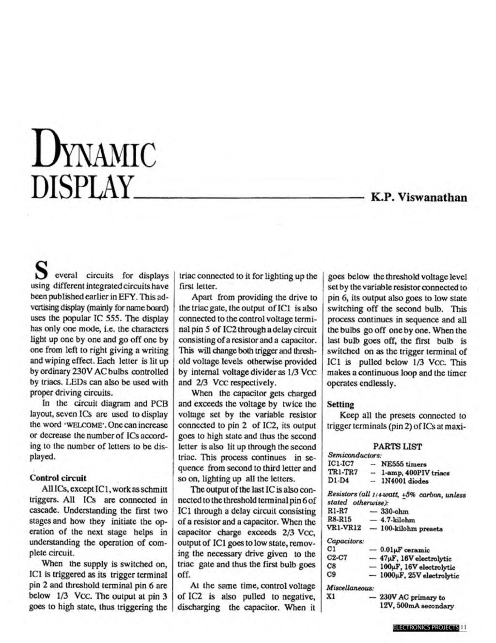 A Compilation Of 102 And Circuit Ideas For Construction Projects 555 Timer Bistable Multivibrator Technology Hacking Dynamic Display Kp Viswanathan S Everal Circuits Displays Using Different Integrated Have Been Published