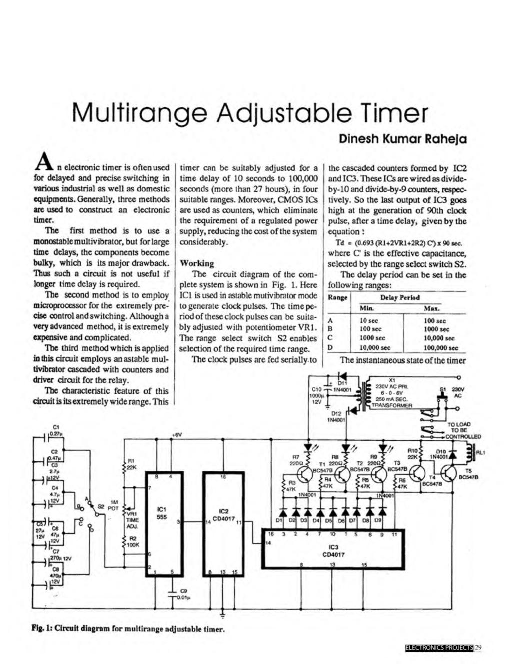 A Compilation Of 102 And Circuit Ideas For Construction Projects 555 Timer Bistable Multivibrator Technology Hacking Multirange Adjustable Tinner Dinesh Kumar Raheja Aam N Electronic Is Often Used Delayed
