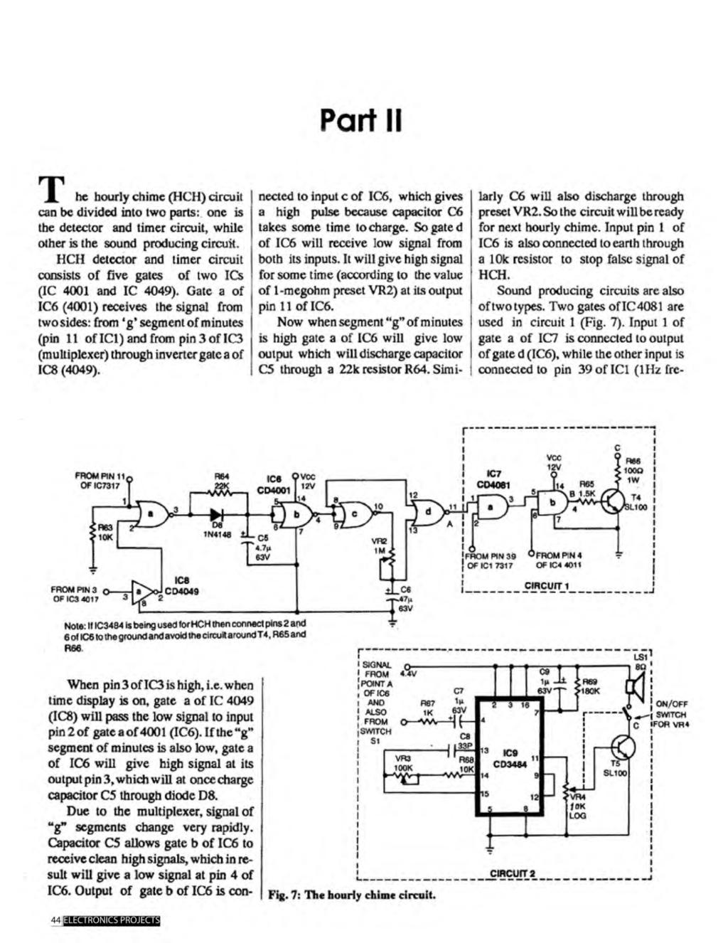 A Compilation Of 102 And Circuit Ideas For Construction Projects Clock Pulse Generator With Cd4049 Diagram I Nectcd Part Ii R 1 He Hourly Chime Hch Can Be