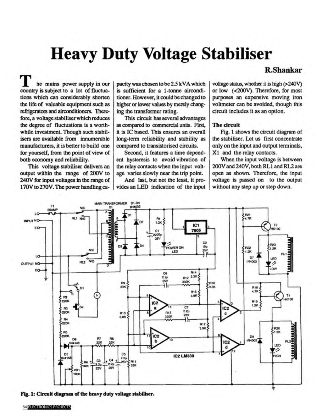 A Compilation Of 102 And Circuit Ideas For Construction Projects Electronics 12v 50w Switching Regulator Diagram R 1 Heavy Duty Voltage Stabiliser Rshankar He Mains Power Supply In Our