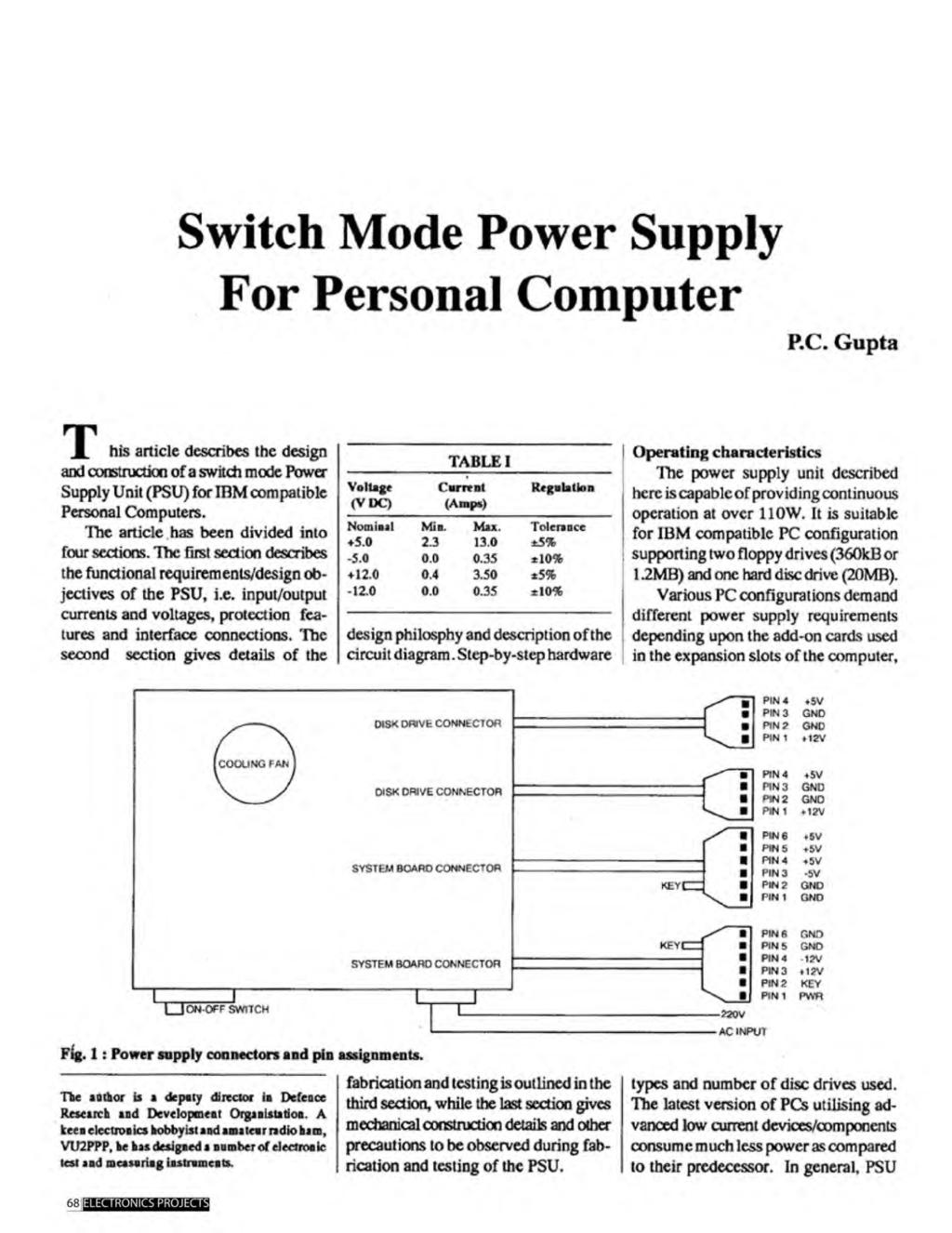 A Compilation Of 102 And Circuit Ideas For Construction Projects Diagram Lm339n Atx Power Supply Schematic Pc I Switch Mode Personal Computer Gupta T His Article Describes The Design