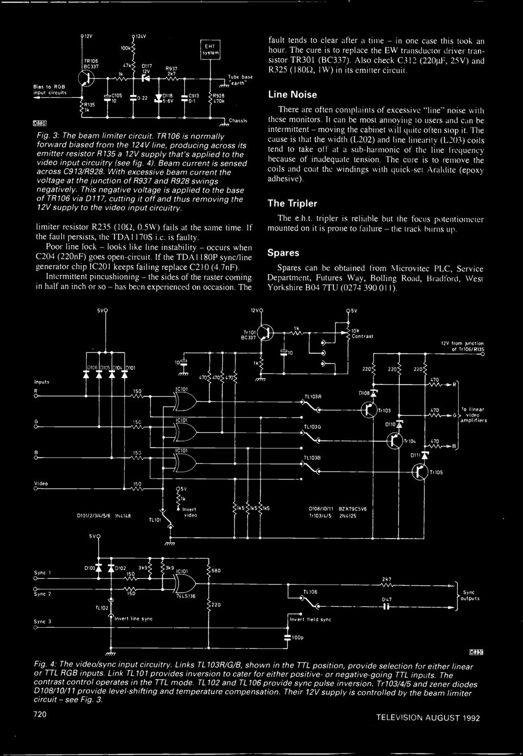Servicing Video Satellite Developments Free Catalogue Inside Magneto Wiring 25cc Schematic Beam Current Is Sensed Across C913 R928 With Excessive The Voltage At