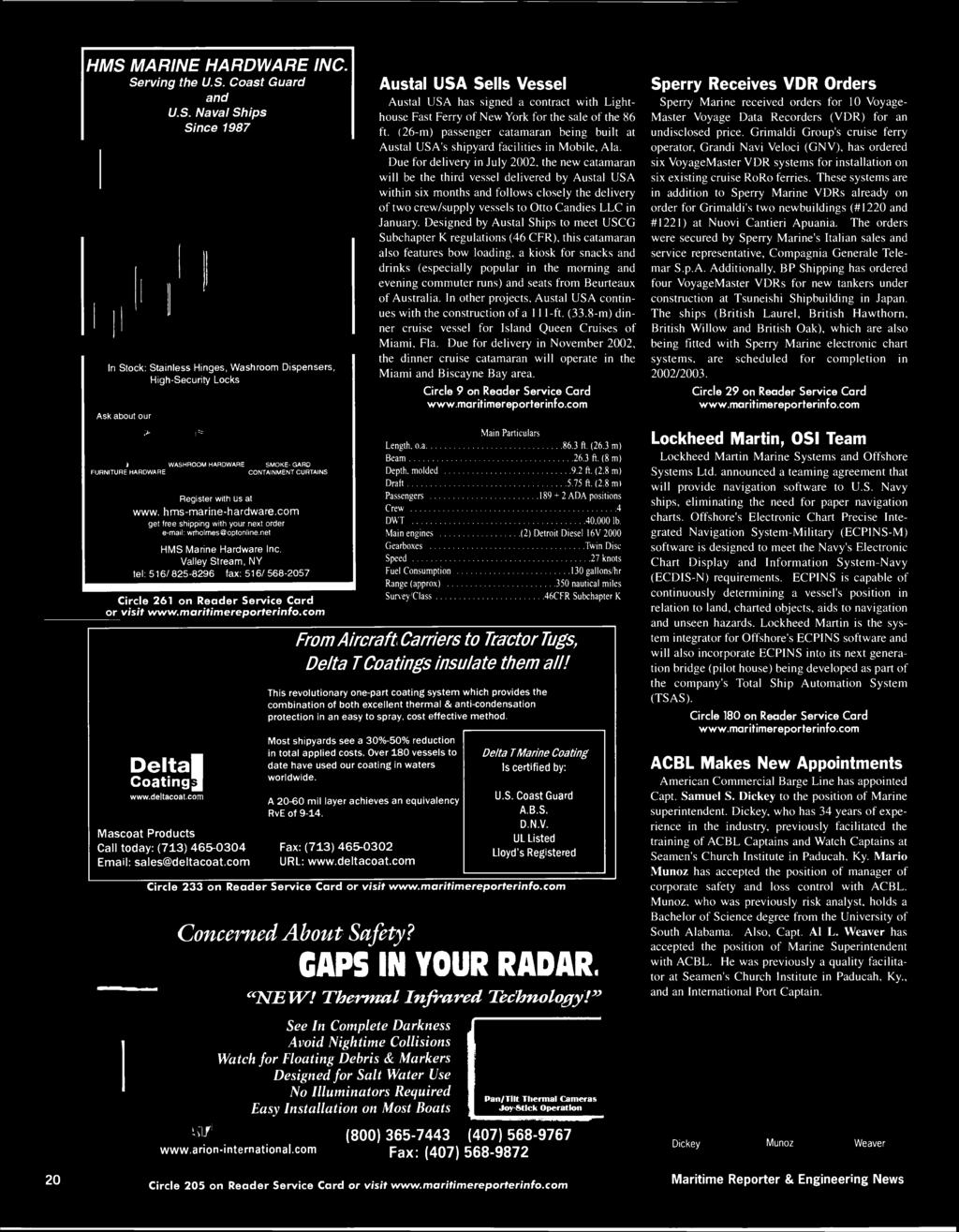 July 2002 Maritime Reporter And Engineering News Pwffi Wats Pdf Port A Cool Evaporator3600 Wiring Diagram Hms Marine Hardware Serving The Us Coast Guard Naval Ships Since 1987 Inc