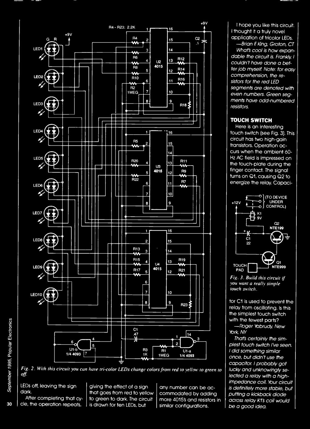 F Tl Build Project Builders Special Issue Oracle Chirrup 9 Is Diagram From Mga 1500 Spl Above 1600 Below Note For Easy Comprehension The Resistors Red Led Segments Are Denoted With