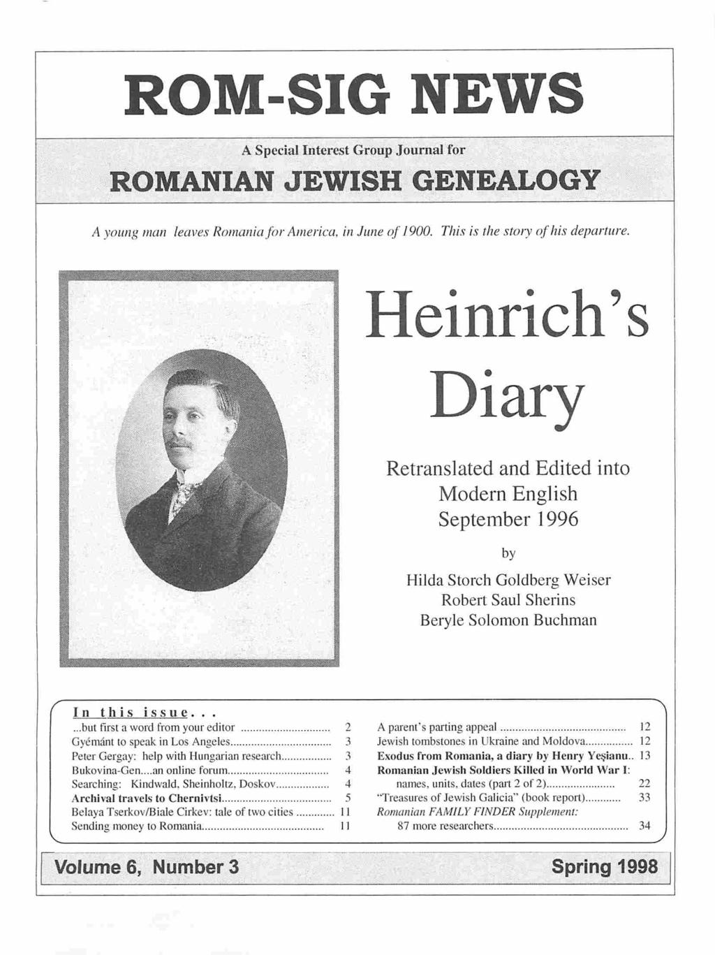 ROM-SIG NEWS  A Special Interest Group Journal for ROMANIAN JEWISH