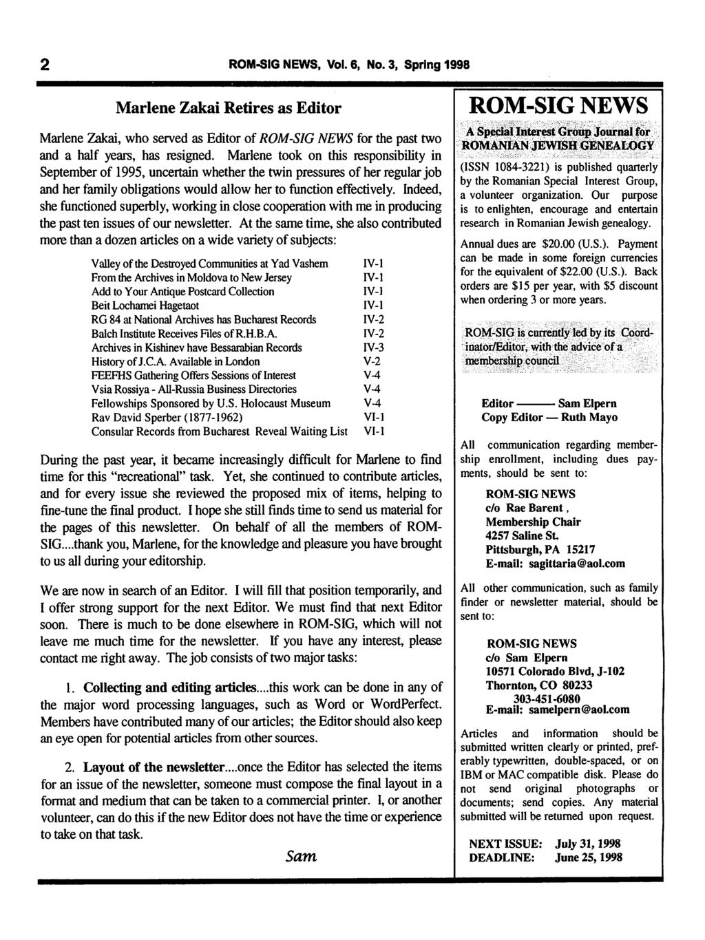 ROM-SIG NEWS  A Special Interest Group Journal for ROMANIAN