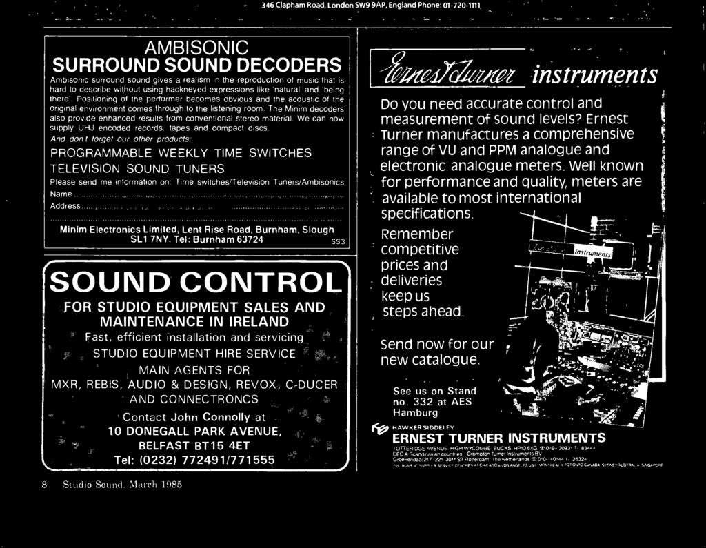 March 1985 STUDIO SOUND AND BROADCAST ENGINEERING AES