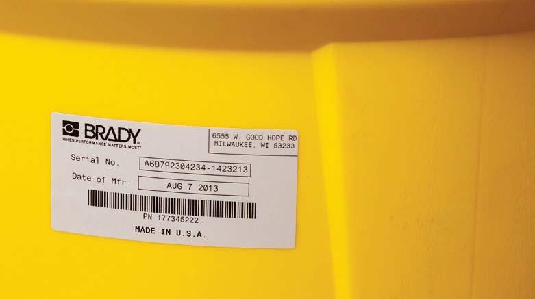 B-423 and B-966B Permanent Polyester with Overlaminate Brady Worldwide Inc. 1000 per Roll Brady THT-24-423-1 2.75 Width x 1.75 Height Gloss Finish White PermaShield Thermal Transfer Printable Label