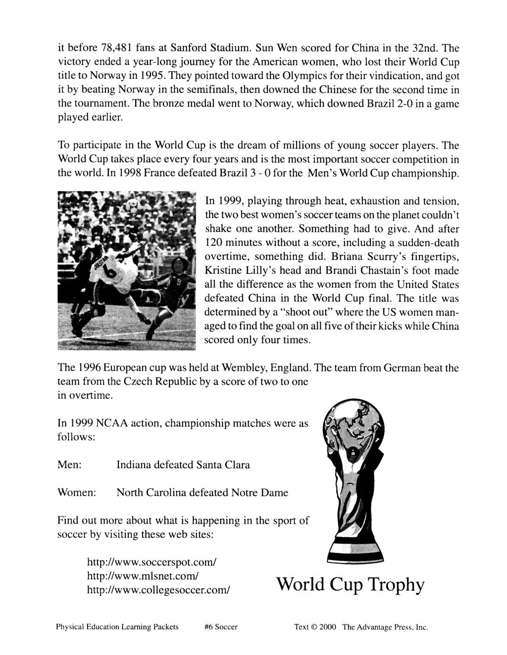 Physical Education Learning Packet 6 Soccer Pdf Free Download